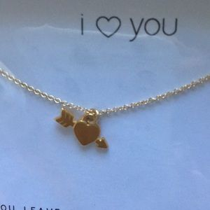 Dogeared I LOVE YOU sterling silver gold dipped 16